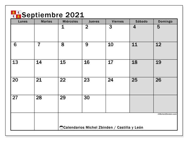 Calendario septiembre 2021, con días feriados de Castilla y León. Calendario para imprimir gratis con días festivos.