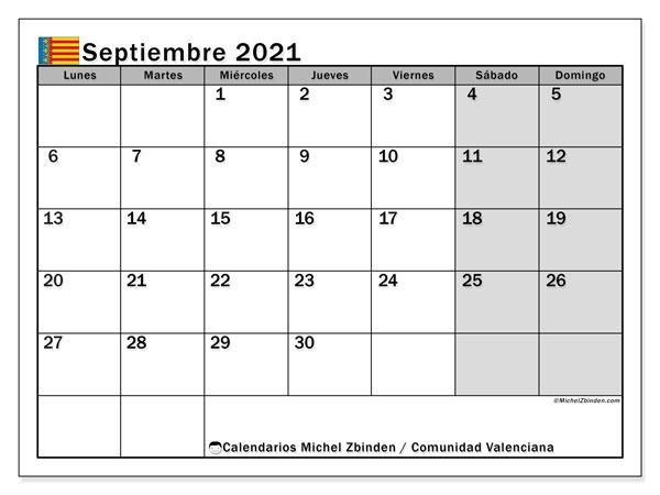 Calendario septiembre 2021, con días feriados de la Comunidad Valenciana. Calendario para imprimir gratis con días festivos.