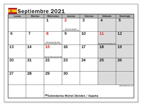 Calendario septiembre 2021, con días feriados en España. Calendario vacaciones y festivos para imprimir gratis.