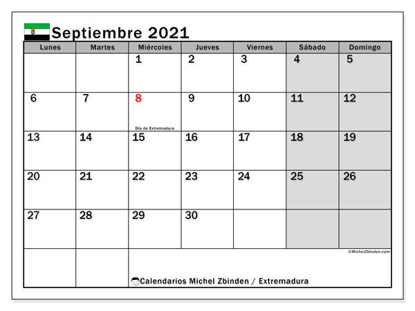 Calendario septiembre 2021, con días feriados en Extremadura. Calendario vacaciones y festivos para imprimir gratis.