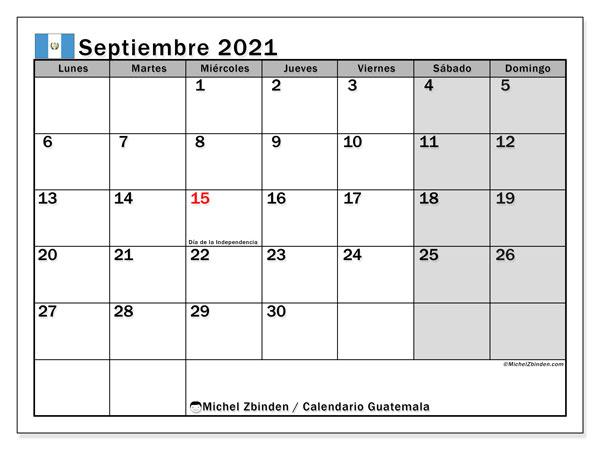 """Calendario """"Guatemala"""" septiembre de 2021 para imprimir   Michel"""