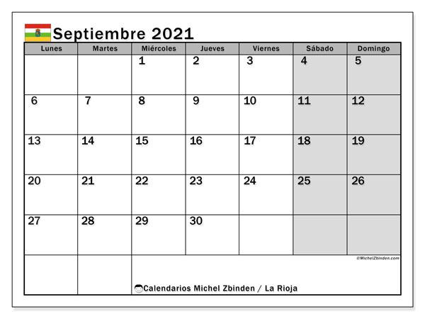 Calendario septiembre 2021, con días feriados en La Rioja. Calendario para imprimir gratis con días festivos.