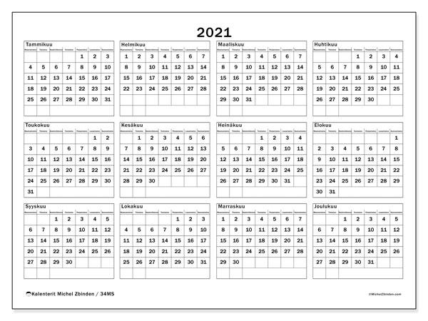 Ilmainen Tulostettava Kalenteri 2021