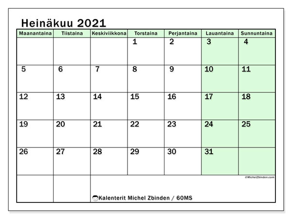 Kalenteri heinäkuu 2021, 60MS. Ilmainen järjestäjä tulostettava.