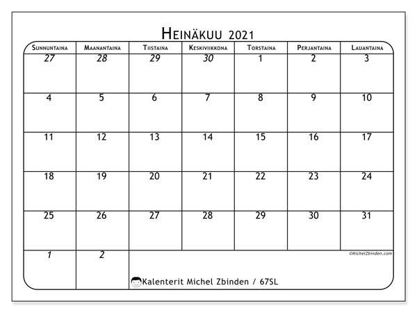 Kalenteri Heinäkuu 2021