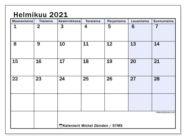 Kalenteri helmikuu 2021, 57MS. Ilmainen tulostettava kalenteri.