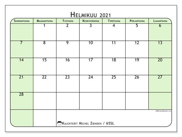 Kalenteri helmikuu 2021, 65SL. Ilmainen järjestäjä tulostettava.