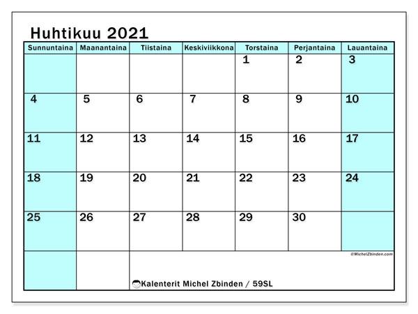 Kalenteri huhtikuu 2021, 59SL. Ilmainen tulostettava kalenteri.