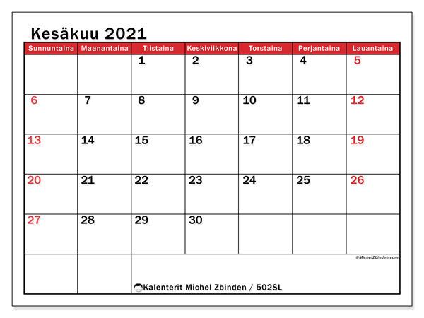 Kalenteri Kesäkuu 2021
