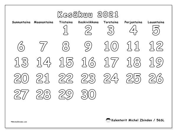 Kalenteri kesäkuu 2021, 56SL. Kuukauden kalenteri tulostaa ilmaiseksi.
