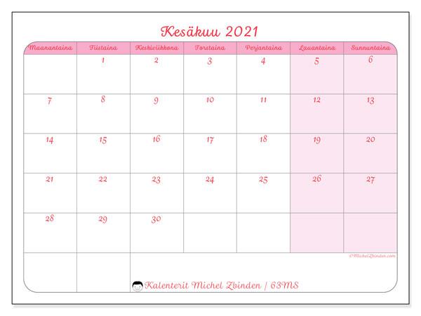 Kalenteri kesäkuu 2021, 63MS. Ilmainen tulostettava kalenteri.