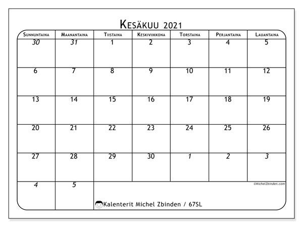 Kalenteri kesäkuu 2021, 67SL. Ilmainen tulostettava planner.