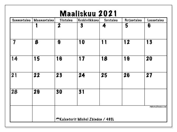Kalenteri maaliskuu 2021, 48SL. Kuukausikalenteri ilmaiseksi tulostamista varten.