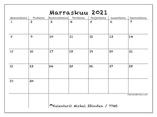 Kalenteri marraskuu 2021, 77MS. Ilmainen tulostettava kalenteri.