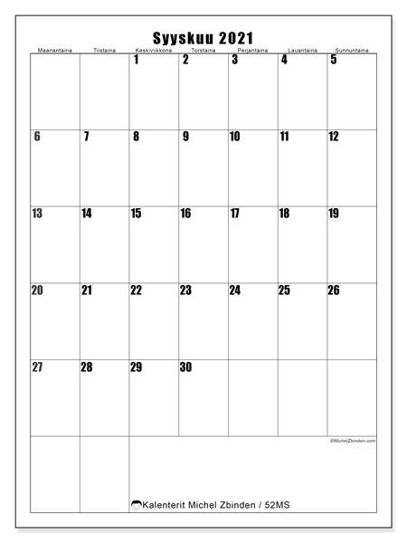 Kalenteri syyskuu 2021, 52MS. Kuukausikalenteri ilmaiseksi tulostamista varten.