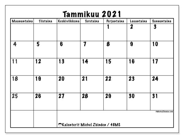 Kalenteri 2021 Tammikuu