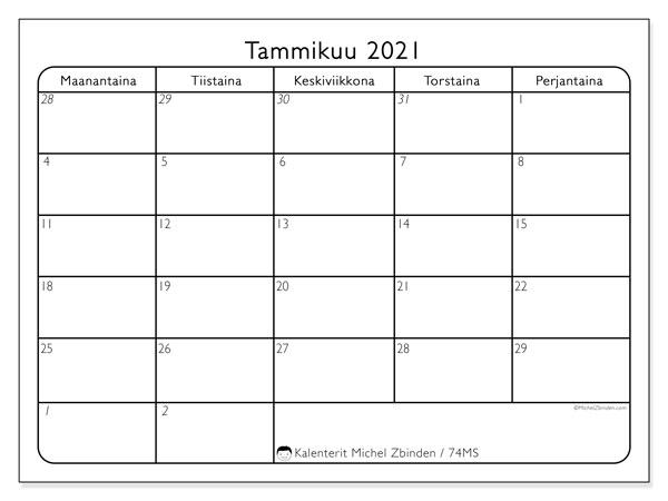 Kalenteri tammikuu 2021, 74MS. Ilmainen tulostettava kalenteri.
