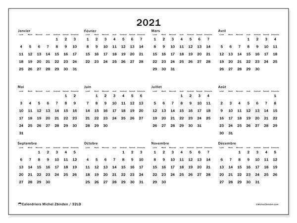"Calendrier ""32LD"" 2021 à imprimer   Michel Zbinden FR"