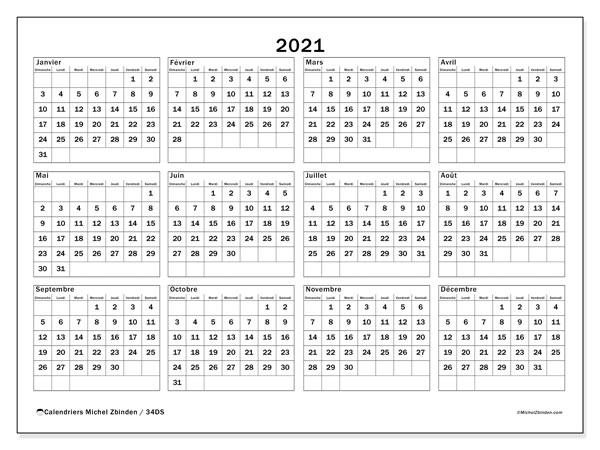 "Calendrier ""34DS"" 2021 à imprimer   Michel Zbinden FR"