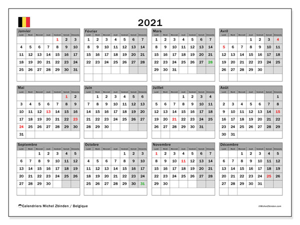 "Calendrier ""Belgique"" 2021 à imprimer   Michel Zbinden FR"