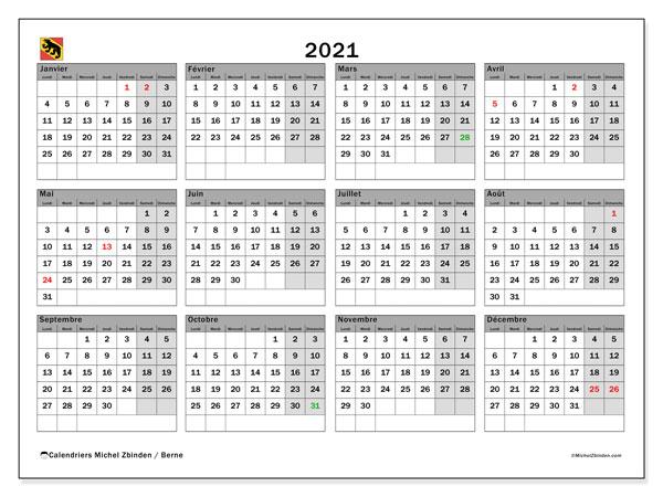 Calendrier 2021, avec les jours fériés du Canton de Berne. Calendrier à imprimer gratuit avec jours fériés.