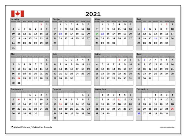 "Calendrier ""Canada"" 2021 à imprimer   Michel Zbinden FR"