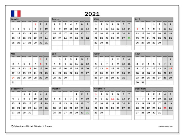 Calendrier 2021, avec les jours fériés de la France. Calendrier à imprimer gratuit avec jours fériés.