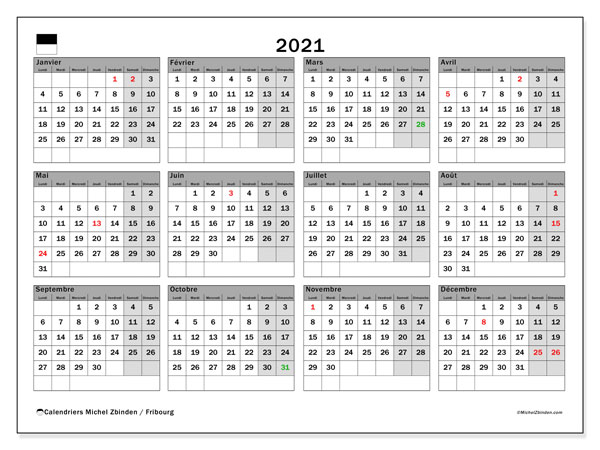 Calendrier 2021, avec les jours fériés du Canton de Fribourg. Calendrier Fêtes et jours fériés à imprimer gratuit.
