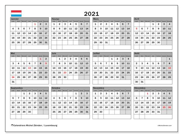 "Calendrier ""Luxembourg"" 2021 à imprimer   Michel Zbinden FR"