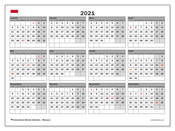 "Calendrier ""Monaco"" 2021 à imprimer   Michel Zbinden FR"