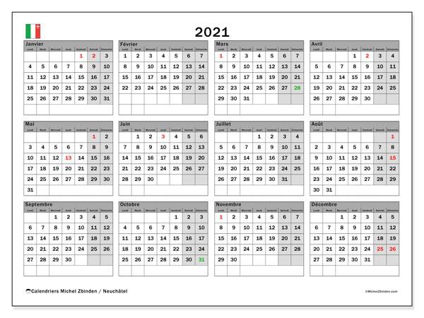 Calendrier 2021, avec les jours fériés du Canton de Neuchâtel. Calendrier Fêtes et jours fériés à imprimer gratuit.