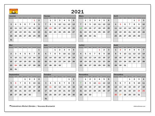 """Calendrier """"Nouveau Brunswick"""" 2021 à imprimer   Michel Zbinden FR"""