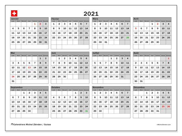 Calendrier 2021, avec les jours fériés de la Suisse. Calendrier à imprimer gratuit avec jours fériés.