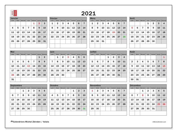 Calendrier 2021, avec les jours fériés du Canton du Valais. Calendrier à imprimer gratuit avec jours fériés.