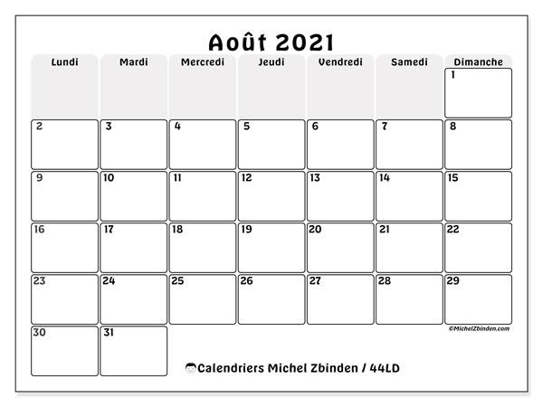 """Calendrier """"44LD"""" août 2021 à imprimer   Michel Zbinden FR"""