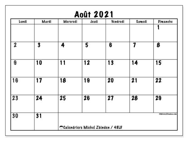 "Calendrier Mensuel Aout 2021 Calendrier ""48LD"" août 2021 à imprimer   Michel Zbinden FR"