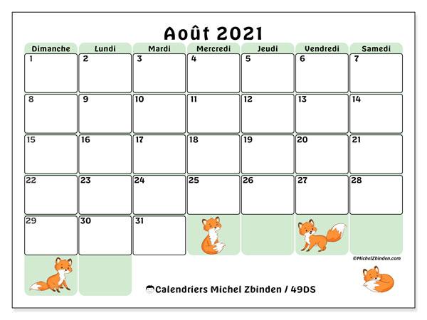 Calendrier août 2021, 49DS. Planificateur à imprimer gratuit.