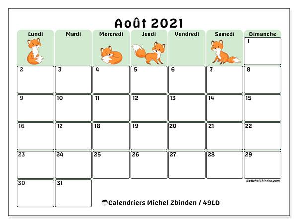 "Calendrier Mensuel Aout 2021 Calendrier ""49LD"" août 2021 à imprimer   Michel Zbinden FR"