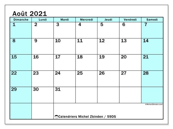 Calendrier août 2021, 59DS. Calendrier gratuit à imprimer.