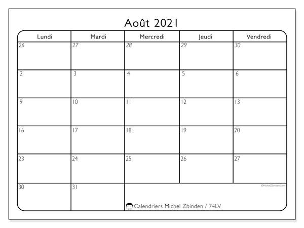 Calendrier août 2021, 74LD. Calendrier pour le mois à imprimer gratuit.