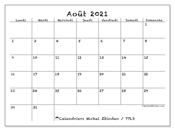 "Calendrier Mensuel Aout 2021 Calendrier ""77LD"" août 2021 à imprimer   Michel Zbinden FR"