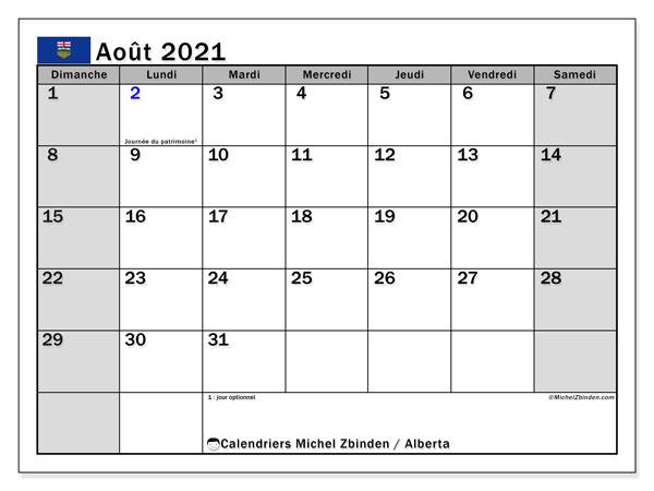 Calendrier août 2021   Alberta   Michel Zbinden FR