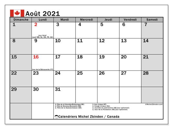 "Calendrier ""Canada"" août 2021 à imprimer   Michel Zbinden FR"
