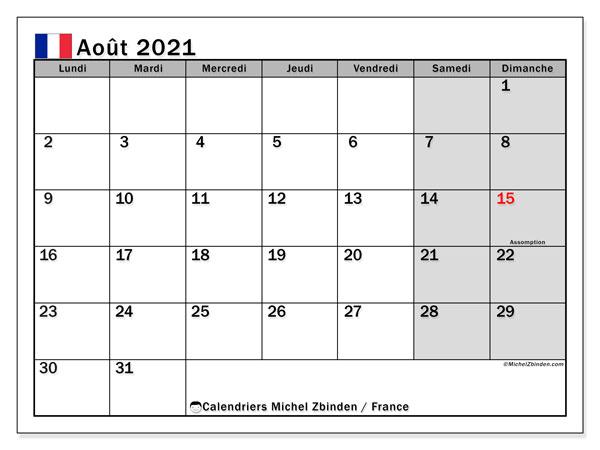 Calendrier août 2021, avec les jours fériés de la France. Calendrier Fêtes et jours fériés à imprimer gratuit.