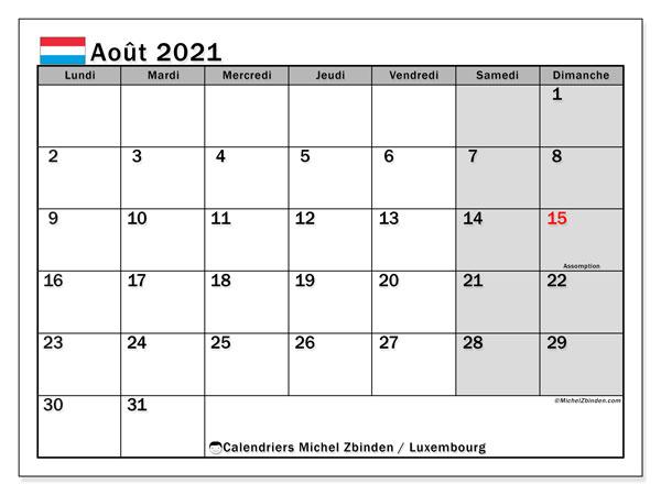 Calendrier août 2021, avec les jours fériés du Luxembourg. Calendrier Fêtes et jours fériés à imprimer gratuit.