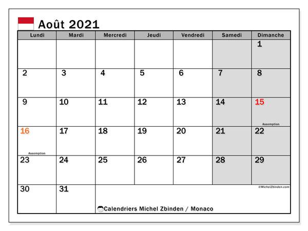 Calendrier août 2021, avec les jours fériés de Monaco. Calendrier à imprimer gratuit avec jours fériés.