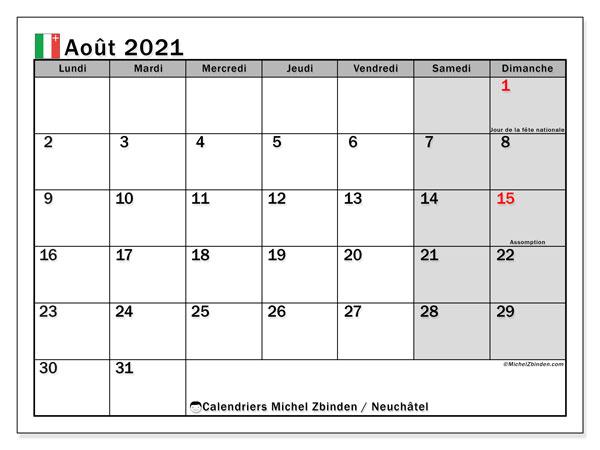 Calendrier août 2021, avec les jours fériés du Canton de Neuchâtel. Calendrier Fêtes et jours fériés à imprimer gratuit.