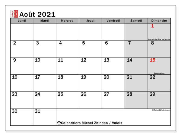 Calendrier août 2021, avec les jours fériés du Canton du Valais. Calendrier Fêtes et jours fériés à imprimer gratuit.