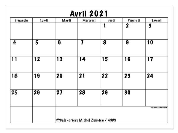 "Calendrier Mensuel Avril 2021 Calendrier ""48DS"" avril 2021 à imprimer   Michel Zbinden FR"