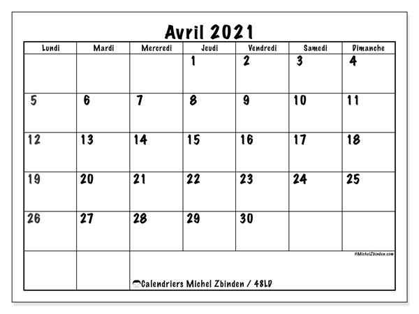 "Avril 2021 Calendrier Calendrier ""48LD"" avril 2021 à imprimer   Michel Zbinden FR"